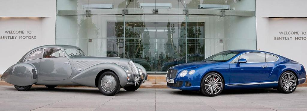 Kindred spirits: While the company's ownership may have changed, it doesn't take an expert to note the visual connection between the Embiricos car and the modern Bentley Continental GT.