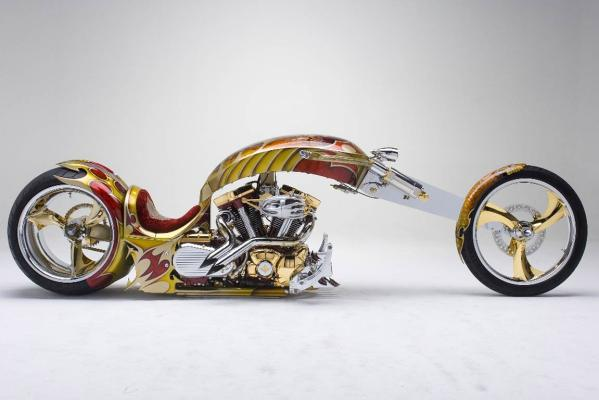 The gold-plated custom-built chopper Nehme-sis that will visit New Zealand for the 2013 CRC Speedshow.