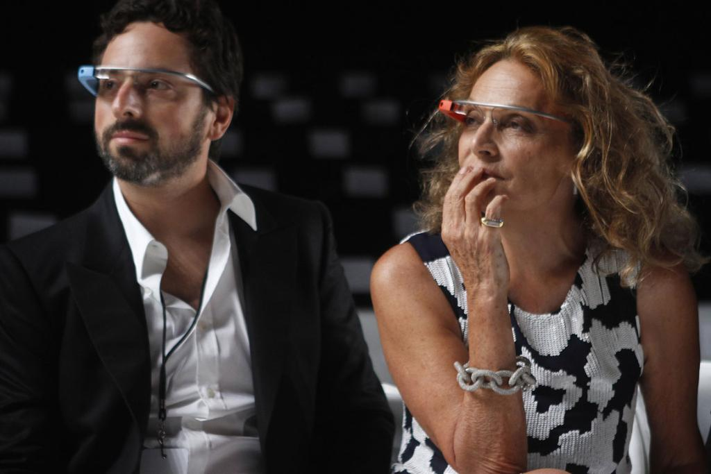 Google founder Sergey Brin and designer Diane von Furstenberg sit and watch the rehearsal for her Spring/Summer 2013 collection show.