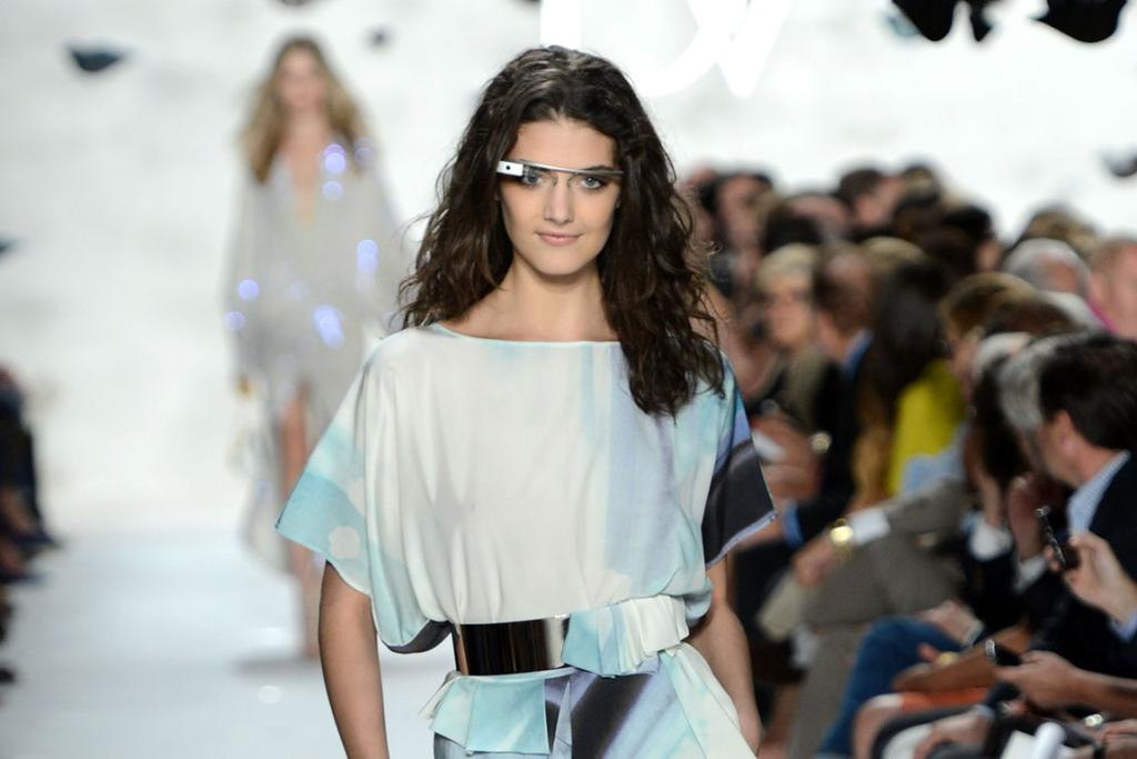 A model wars Google Glasses during the Diane von Furstenberg  show.