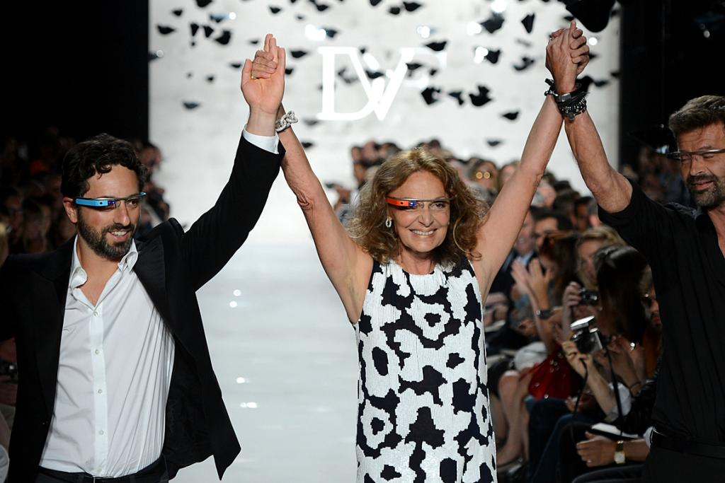 Sergey Brin, Diane Von Furstenberg and co-designer Yvan Mispelaere end the show.