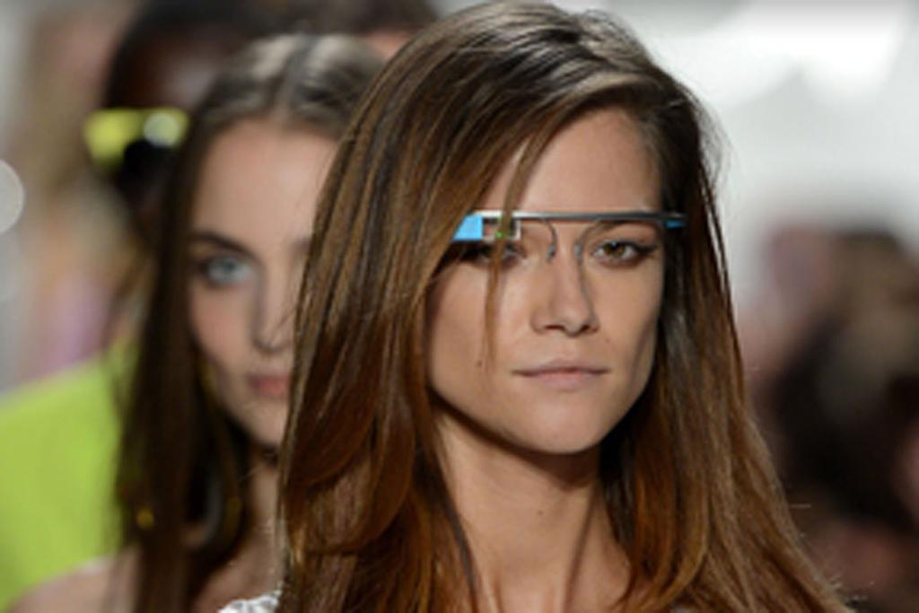 Models wear Google Glasses at the Diane Von Furstenberg show in New York.