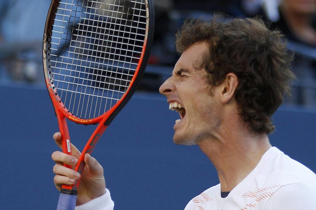 Andy Murray reacts after a missed shot during the men's final.