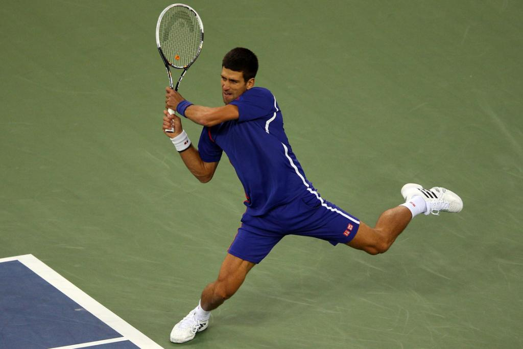 Novak Djokovic of Serbia returns a shot during his men's singles final match against Andy Murray.