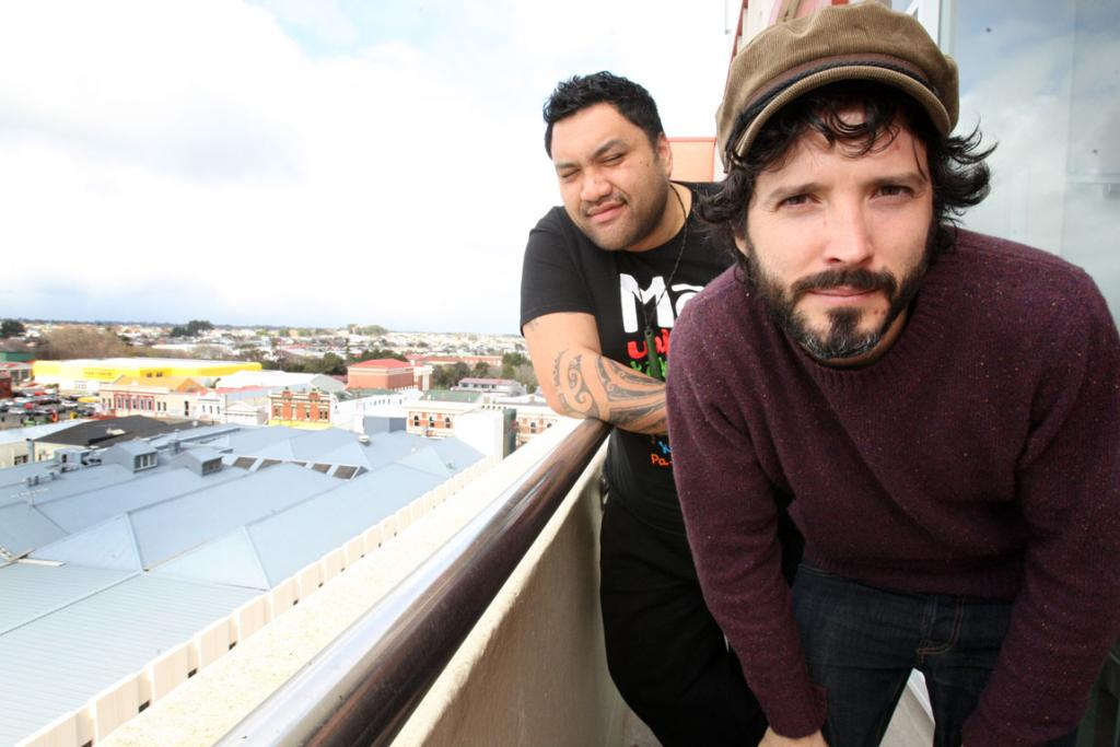 Two Little Boys cast members Maaka Pohatu and Bret McKenzie in Invercargill today.