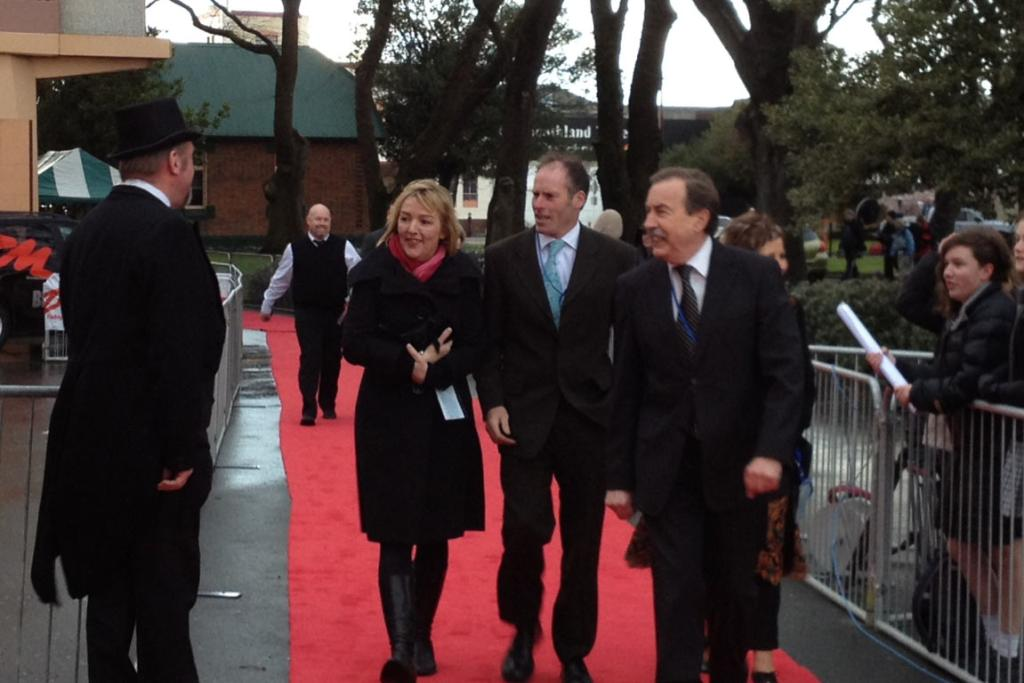 The first arrivals on the red carpet.