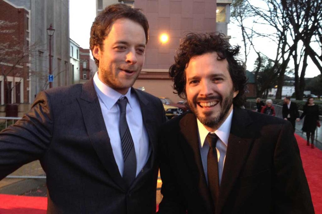 Stars Hamish Blake, left, and Bret McKenzie arrive chilly but in good spirits