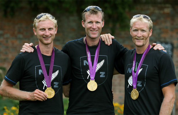 MOVE TO AN EIGHT? London Olympians Hamish Bond, Mahe Drysdale and Eric Murray.