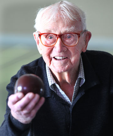 At 103, Geoff Howlett still loves to have a game of bowls