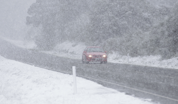 Snow on State Highway 2, Mt Bruce