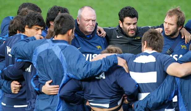 REGRETS? Former All Black coach Sir Graham Henry at practice with the Argentineans.