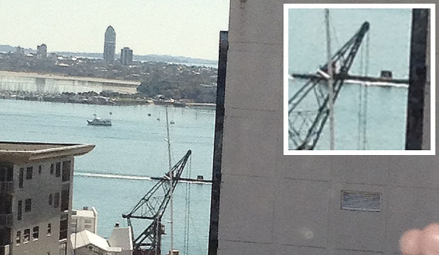 SNAPPED: The suspected submarine in Auckland harbour.