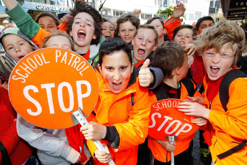 School road patrols parade through Wellington city to celebrate the efforts of school patrols and to improve road safety around their schools.