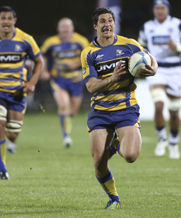 TRY TIME: Bay of Plenty's Phil Burleigh races away to score.