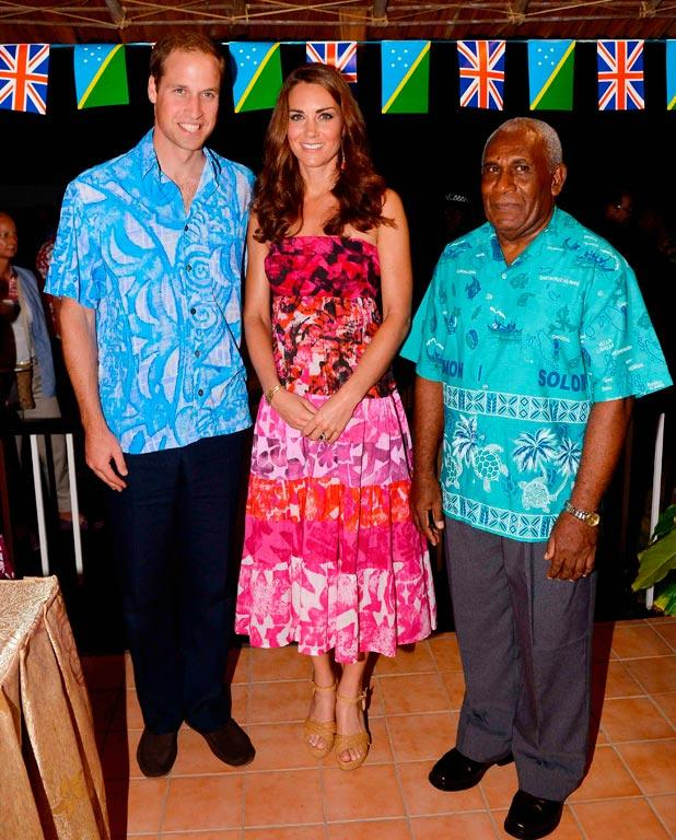 Prince William and wife Kate Middleton pose for a photo with Governor General of the Solomon Islands Sir Frank Kabui in Honiara.