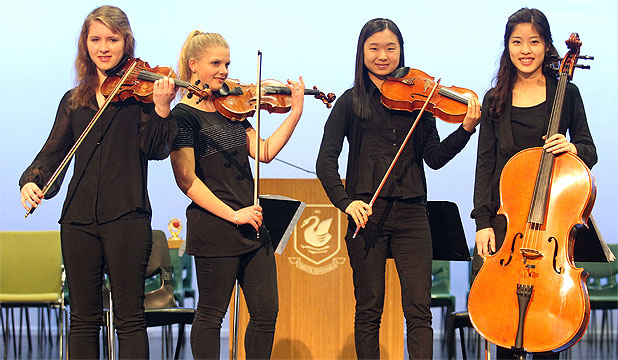 IN TUNE: Lauren Bennett, Britta Balzat, Sophia Lee and Sally Kim will perform at the Shanghai Music Festival.
