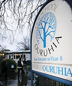Ouruhia School sign