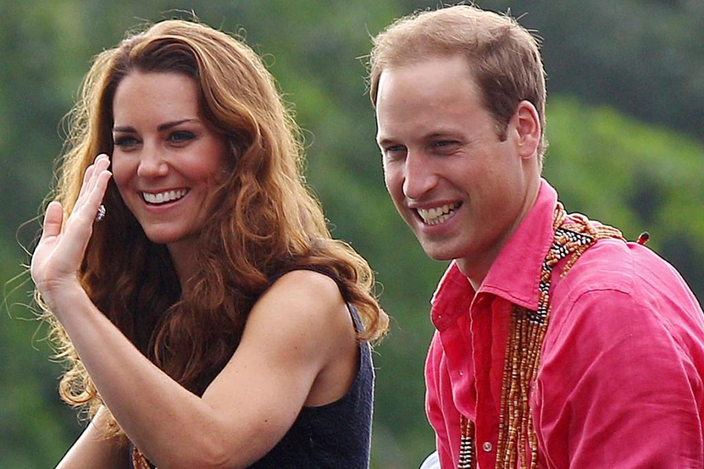 Kate and William watch a shark ceremony during their arrival at Marapa Island, Solomon Islands.