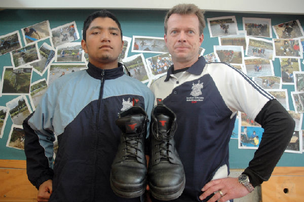 Walk the talk: Naenae Service Academy foundation student Jermaine Pirihi has had a second chance at school after two years of drinking and drugs, and is putting in the hard yards with teacher David Murden.