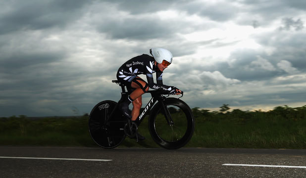 POWERING ON: New Zealand's Linda Villumsen on her way to bronze in the women's time trial at the world road cycling championships in the Netherlands.