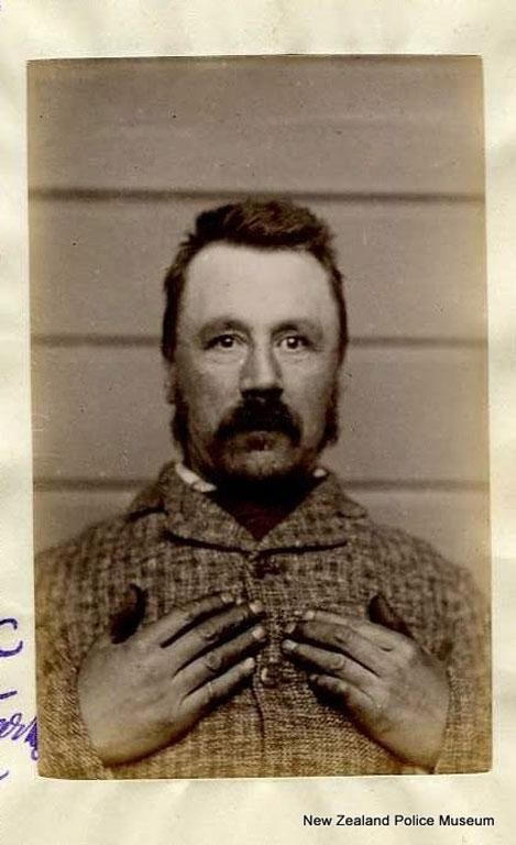 David Kirk Rhodes (b. 1847). Charged with nine counts of embezzlement and sentenced to three years in gaol on April 4, 1889.