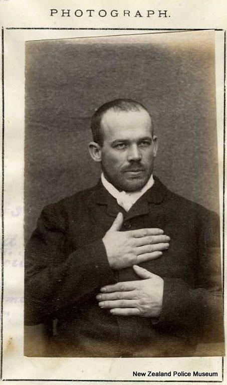 Alex Haddlestone alias Fiddlestone/Thomas Edwards/Edmunds/Allan (b. 1861, New Zealand). Charged with larceny and sentenced to 18 months in gaol on  October 24, 1886.