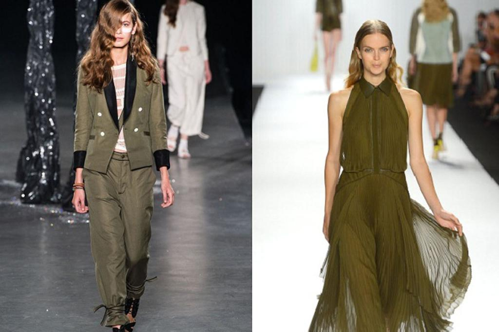 Relaxed military-style tailoring from Band Of Outsiders, left, and soft khaki styles from J. Mendel, right.