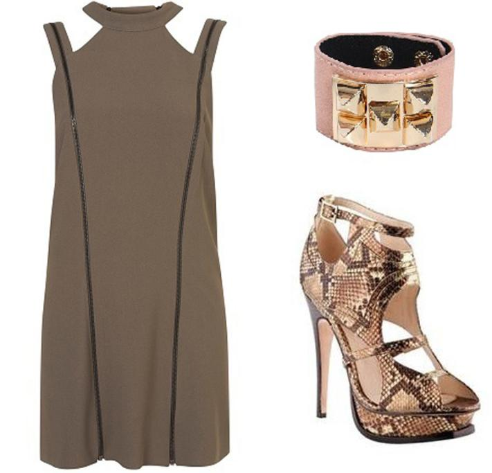 Unique dress, $295 from Topshop.com; cuff, $20 from Boohoo.co.nz; shoes by Hailwood for Mi Piaci, $370.