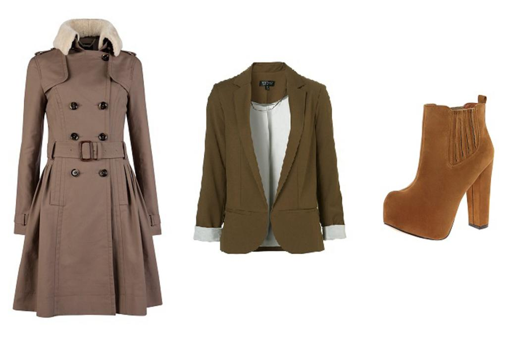 Ted Baker coat, $599; blazer, $130 from Topshop.com; boots, $85 from Boohoo.co.nz.