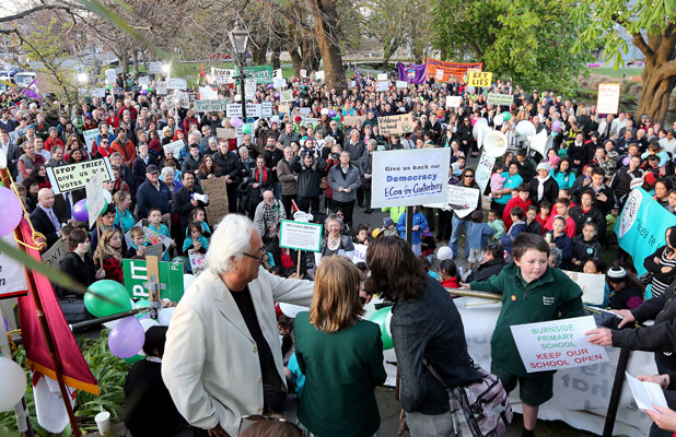 ANGER: Hundreds of people protested in Christchurch last night.