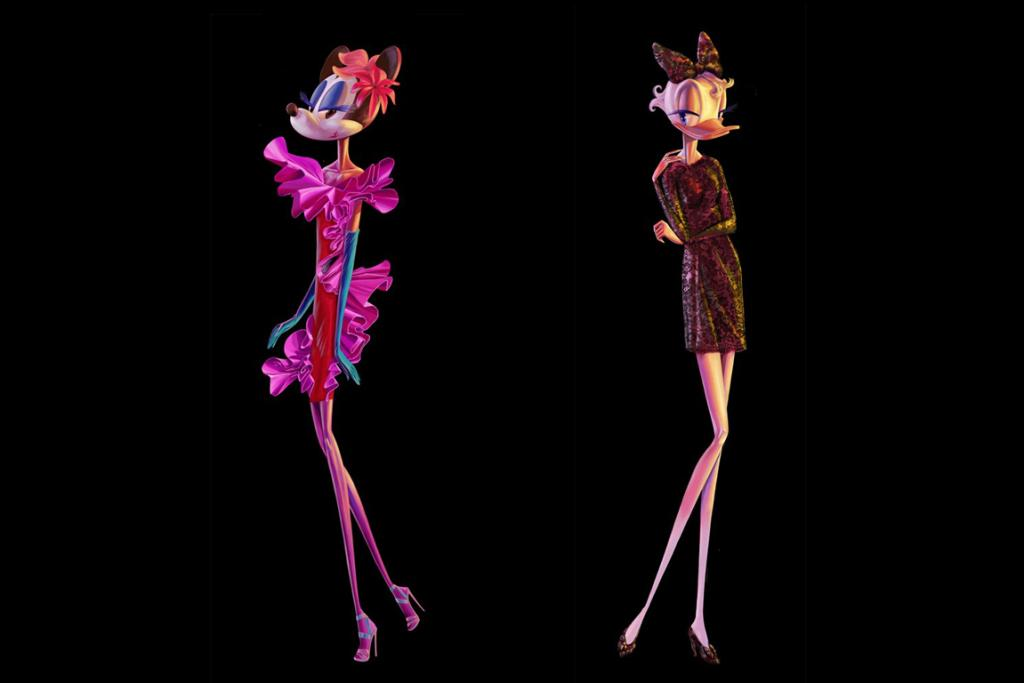 Minnie Mouse in Lanvin and Daisy Duck in Dolce & Gabbana.