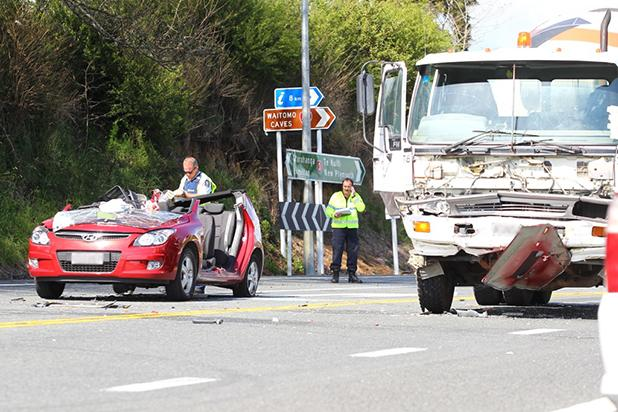 CRASH: A car collided with a cement mixer at the State Highway 3 intersection with Waitomo Caves at 9.20am.