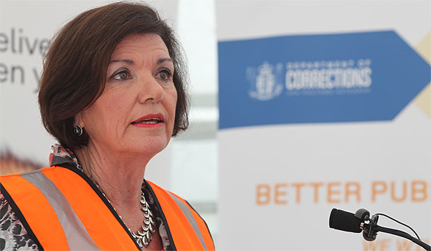 CONFIDENT: Corrections Minister Anne Tolley speaks at the sod-turning ceremony of the the $840 million prison in Wiri.