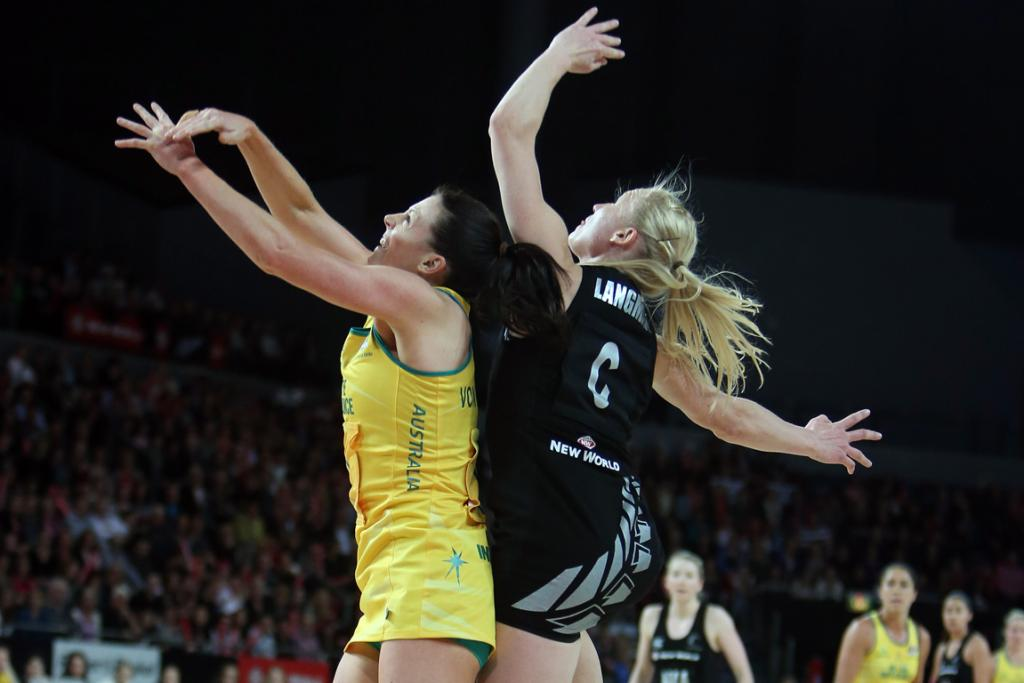 Laura Langman and Natalie Von Bertouch compete during the second netball test match at Vector Arena.