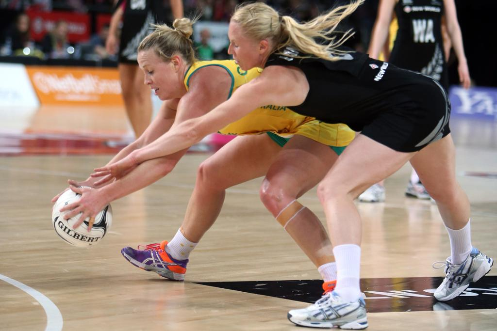 Laura Langman and Kim Green compete during the second netball test match at Vector Arena.