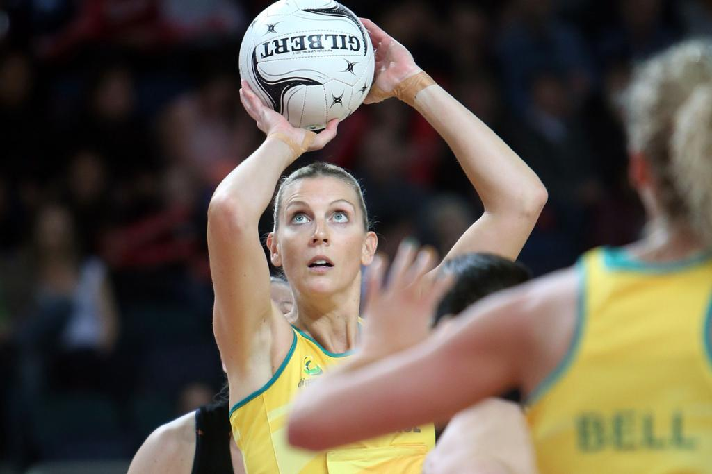 Australian Catherine Cox in action during the second netball test match at Vector Arena.