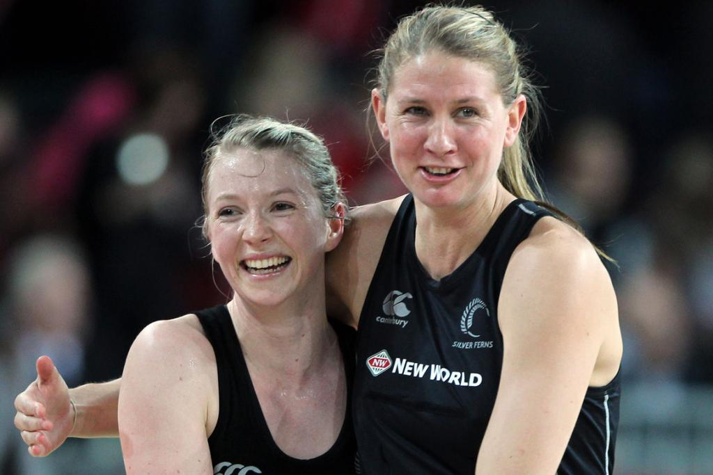 Camilla Lees and Casey Williams celebrate during the second netball test match against Australia.