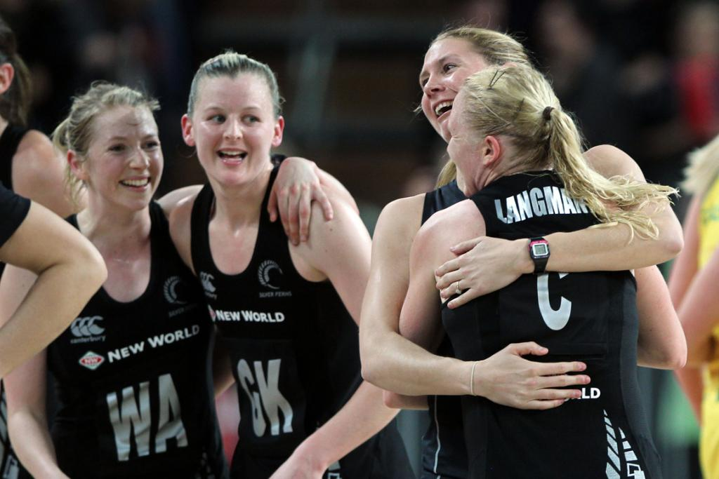 Silver Ferns players celebrate after the second netball test match against Australia.