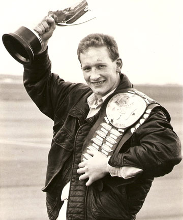 Frankie Cunningham with the cup for winning the New Zealand light middleweight title and the Jamieson Belt for the most scientific fighter at the champs.