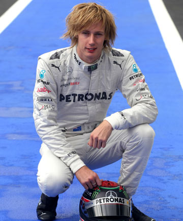 BACK ON TRACK: NZ driver Brendon Hartley has another chance to prove himself, taking test laps for Mercedes.