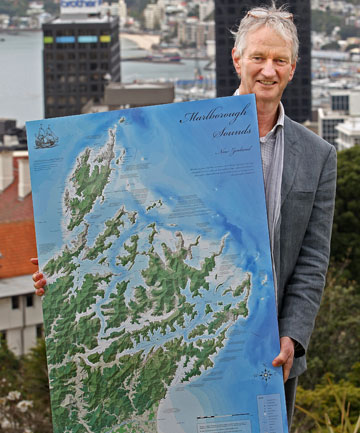 Roger Smith from award-winning map-makers Geographx with a map of the Marlborough Sounds.