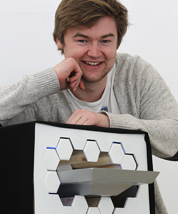 BREAKING THE ICE: Massey University design student Ben de la Roche and his revolutionary fridge design. He  found inspiration for the design ''in things such as the children's toy pin art''