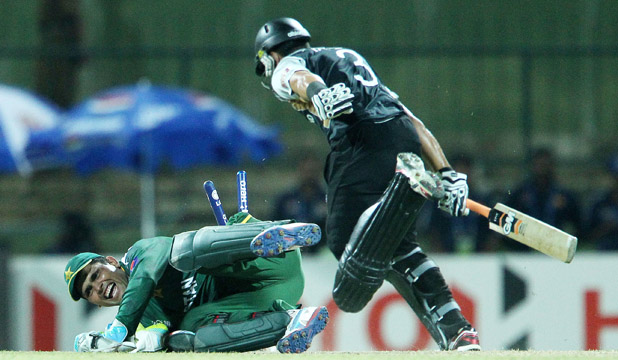 New Zealand's Ross Taylor is run out for 26 during yesterday's  loss to Pakistan.