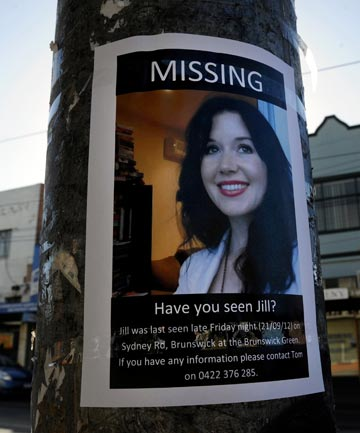 SEARCHING FOR JILL: A missing person poster on the corner where she was last seen.