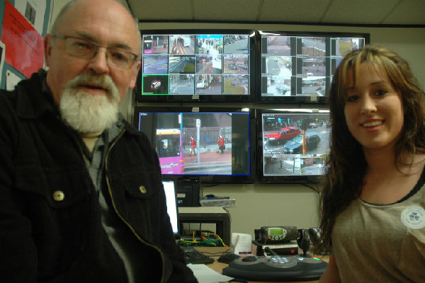 Safe watchers: Peter Clarke and Morgan Falloon at the operating centre for the 26 city-wide CCTV cameras.