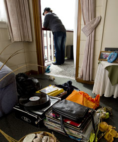 MOVING OUT: Resident Phillipa Acourt prepares to leave Airedale Courts today.