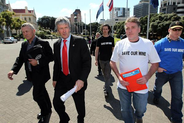 Tony Kokshoorn, West Coast Labour MP Damien O'Connor and Trevor Boldson