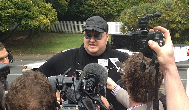 APPEARANCE: Kim Dotcom arrives at the High Court in Auckland.