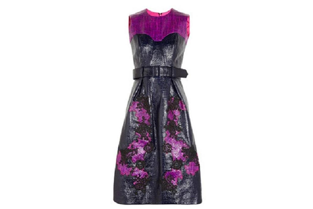 "Erdem dress ""This lacquer-coated cotton blend dress is a wonderful mix of a traditional silhouette and edgy (almost dominatrix) textures. I love it!"""