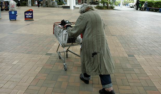 HELPING HAND: A homeless man at a Porirua mall.